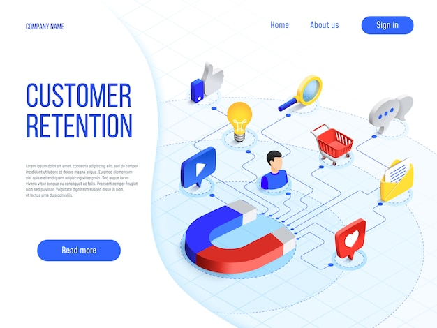 Retención de clientes. el marketing empresarial, la marca atrae a los clientes y mejora la lealtad del comprador. concepto de vector de marca atractiva