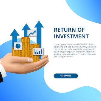Retorno del concepto de inversión crecimiento empresarial finanzas flecha éxito