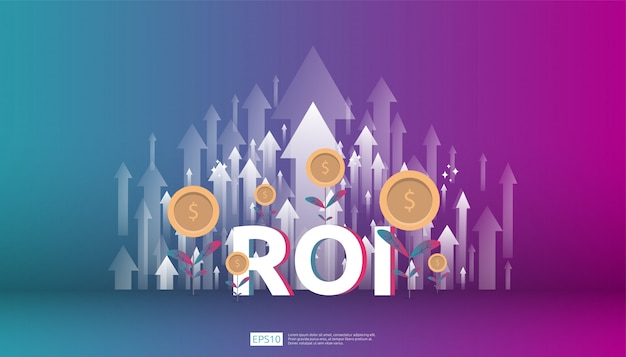 Retorno de la inversión, concepto de oportunidad de beneficio. flechas de crecimiento empresarial para el éxito. texto de roi con gráfico de flecha de éxito aumentar y crecer planta de monedas de dólar.