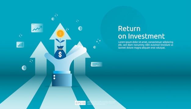 Retorno de la inversión roi, concepto de oportunidad de beneficio. flechas de crecimiento empresarial para el éxito. flecha con monedas de planta de dólar, gráfico y tabla de aumento.