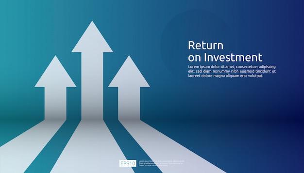 Retorno de la inversión roi. gráfico aumento de ganancias