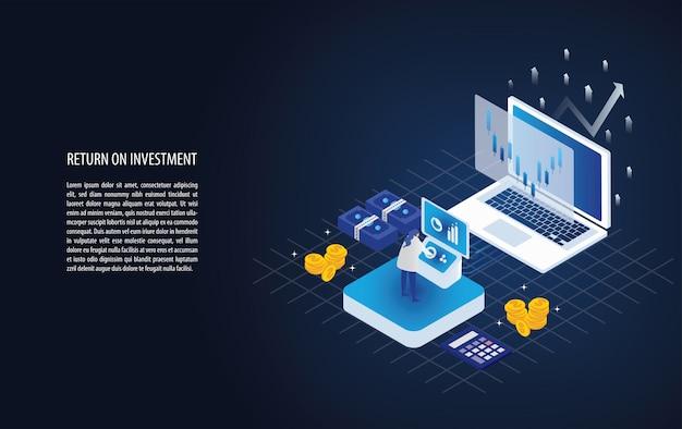 Retorno isométrico de la inversión en una laptop con analista, flecha y moneda de oro.