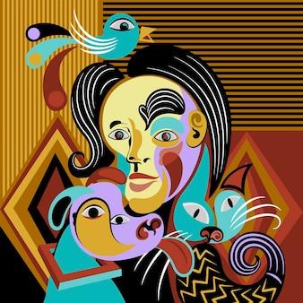 Retrato abstracto de diseño plano en estilo artístico