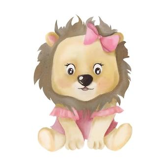 Retrato de acuarela de bebé león para niños