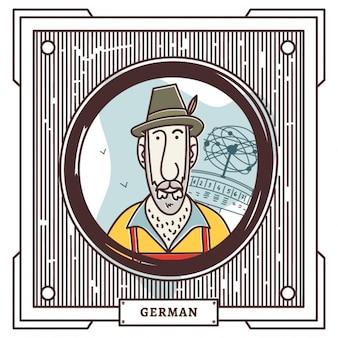 Retrato de alemán dibujado a mano