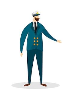 Retrato de altura completa del joven capitán de mar barbudo.