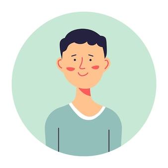 Retrato de alumno adolescente, icono de círculo aislado de personaje masculino con sonrisa en la cara. compañero de clase o colegial en suéter, perfil o avatar para los medios. adolescente positivo, vector de chico inteligente en estilo plano