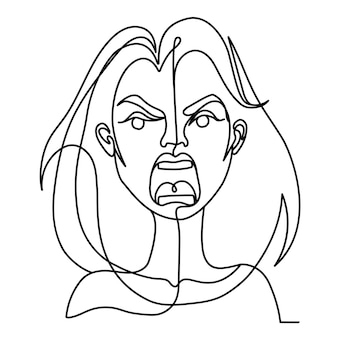 Retrato de arte de una línea de mujer gritando. expresión facial femenina infeliz. silueta de mujer lineal dibujada a mano.