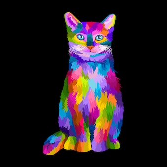 Retrato de arte pop de gato colorido vector premium