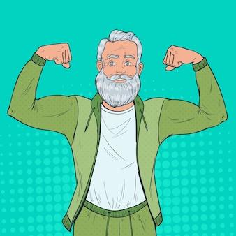 Retrato de arte pop de hombre mayor maduro mostrando los músculos. abuelo fuerte feliz. estilo de vida saludable.