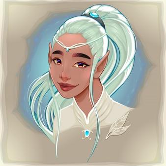 Retrato de una bella elfa sonriente