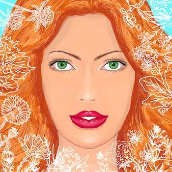 Retrato de una bella mujer en flores