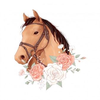 Retrato de caballo en estilo acuarela digital y un ramo de rosas