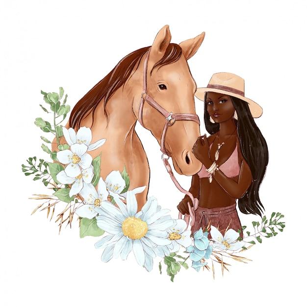 Retrato de un caballo y una niña en estilo acuarela digital y un ramo de margaritas