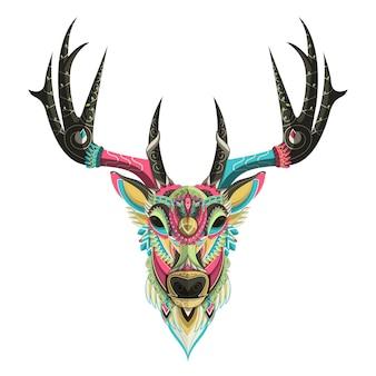 Retrato de ciervo colorido estilizado sobre fondo blanco