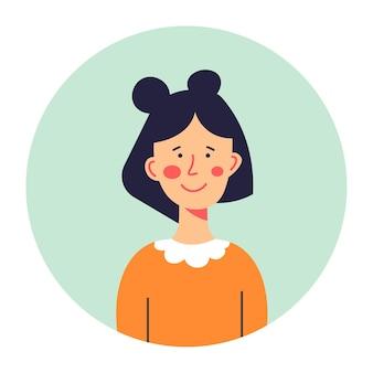 Retrato de colegiala morena, icono redondeado aislado del personaje femenino sonriendo y posando. peinado de personaje, estudiante de colegio o universidad. adolescente joven con cara linda, vector en plano