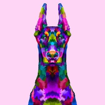 Retrato colorido doberman