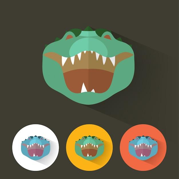 Retrato de crocodilo estilo flat