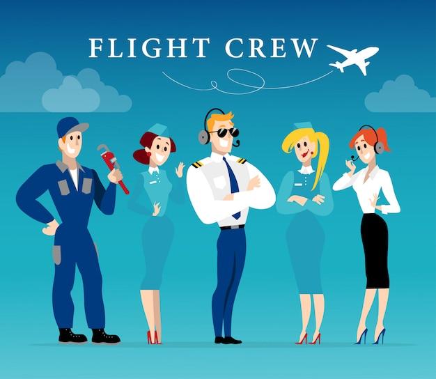 Retrato de dama azafata y piloto en uniforme. estilo.
