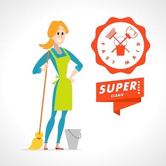 Retrato de dama de limpieza en uniforme. estilo.