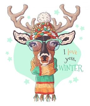 Retrato dibujado a mano de ciervos en accesorios de navidad.