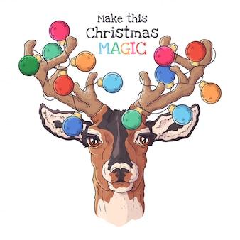 Retrato dibujado a mano de ciervos en accesorios de navidad