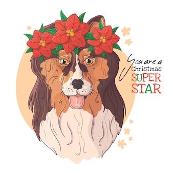 Retrato dibujado mano del perro collie con flores de navidad vector.