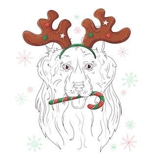 Retrato dibujado mano del perro collie en navidad