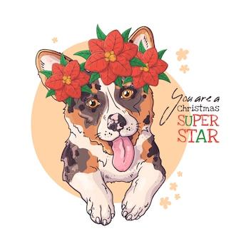 Retrato dibujado mano del perro corgi con flores de navidad vector.