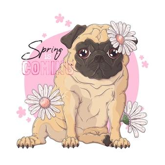 Retrato dibujado a mano del perro pug con flores.