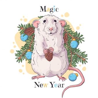 Retrato dibujado a mano de rata en accesorios de navidad