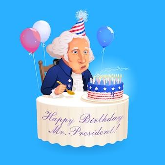 Retrato de dibujos animados del presidente george washington. fundador sentado en la mesa redonda y apaga las velas del pastel de cumpleaños que está decorado al estilo de la bandera estadounidense.