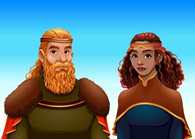 Retrato de dibujos animados de un rey y una reina.