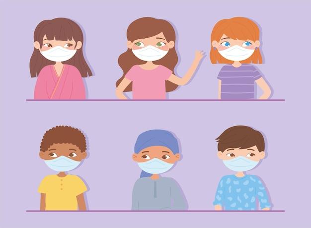 Retrato de diversos jóvenes con mascarilla para protección contra virus
