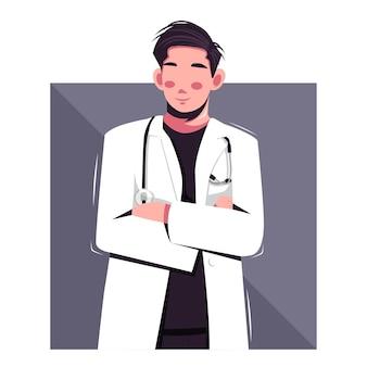 Retrato, de, doctor, plano, vector, ilustración