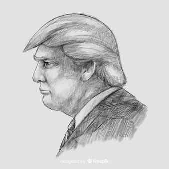 Retrato de donald trump dibujado a mano