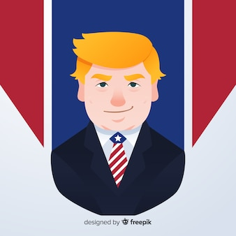 Retrato de donald trump con diseño plano