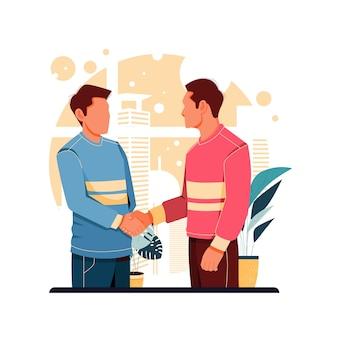 Retrato de dos personas dándose la mano ilustración