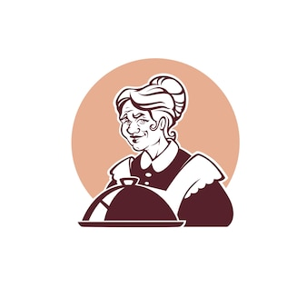 Retrato de la encantadora abuela y comida casera para su logotipo, etiqueta, emblema