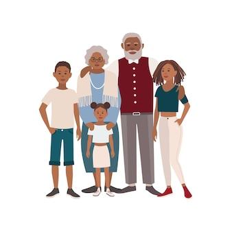 Retrato de familia afroamericana feliz