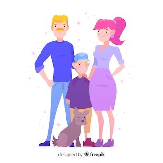 Retrato de familia dibujado a mano