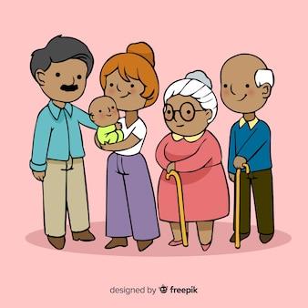 Retrato de familia feliz, diseño de personajes vectorizados