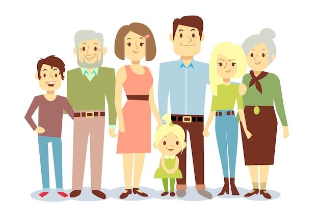 Retrato de familia feliz, vector personajes planos. abuelo y abuela, mamá y papá, niños. gran f