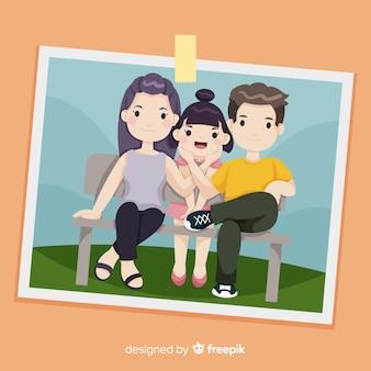 Retrato familiar dibujado a mano en una foto