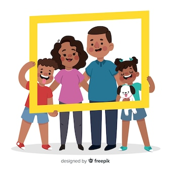 Retrato familiar dibujado a mano con marco