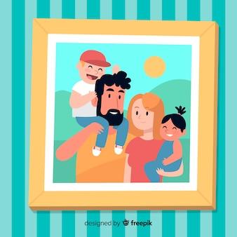 Retrato familiar dibujado a mano en un marco