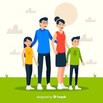 Retrato familiar dibujado a mano en el parque