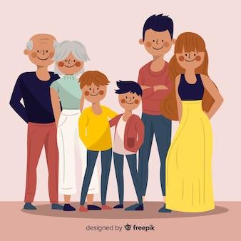 Retrato familiar dibujado a mano