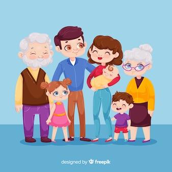 Retrato familiar dibujos animados
