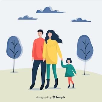 Retrato familiar en el exterior dibujado a mano